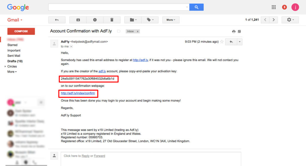 Account Confirmation with AdF.ly jalalonline01 gmail.com Gmail