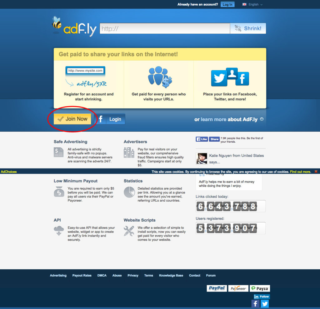 AdFly The URL shortener service that pays you Earn money for every visitor to your links.